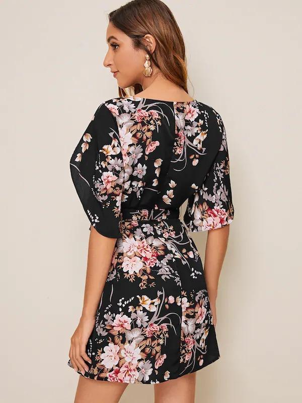 Botanical Print Belted Dress