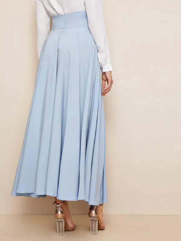 Bow Tie Wide Waistband Maxi Skirt