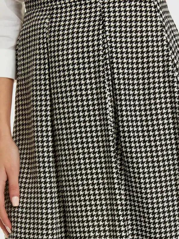 Box Pleated Houndstooth Skirt