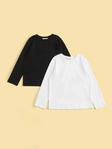 Boys 2pcs Solid Basic Tee