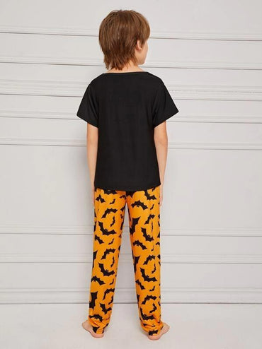 Boys Bat & Letter Print Pajama Set