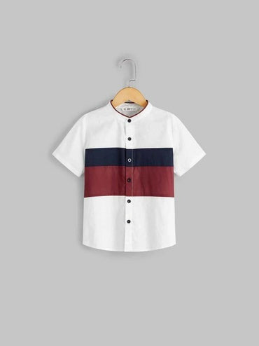 Boys Button Front Colorblock Panel Shirt