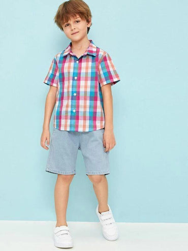 Boys Button Front Tartan Shirt