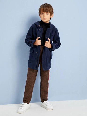 Boys Button Up Pocket Front Coat