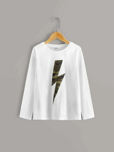 Boys Camo And Lightning Print Tee