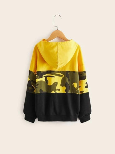Boys Camo Print Colorblock Sweatshirt