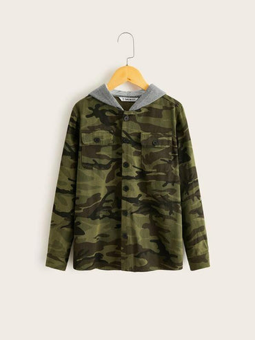 Boys Camo Print Contrast Hooded Jacket