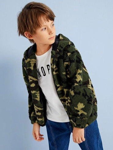 Boys Camo Print Zip Up Hooded Jacket