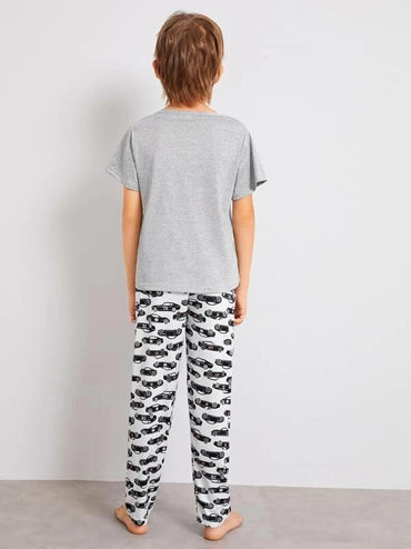 Boys Car & Letter Print Pajama Set