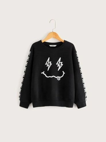 Boys Cartoon And Letter Graphic Sweatshirt