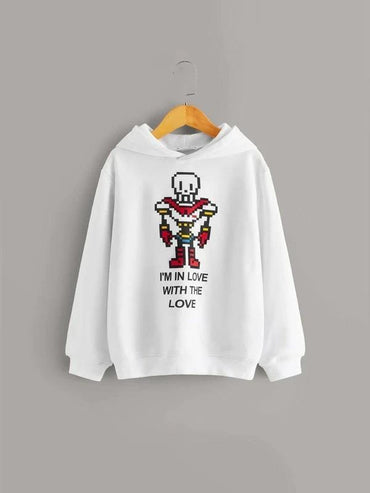 Boys Cartoon And Slogan Graphic Hoodie