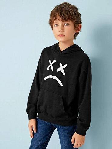 Boys Cartoon Print Kangaroo Pocket Hoodie
