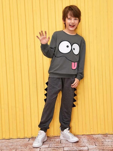 Boys Cartoon Print Sweatshirt
