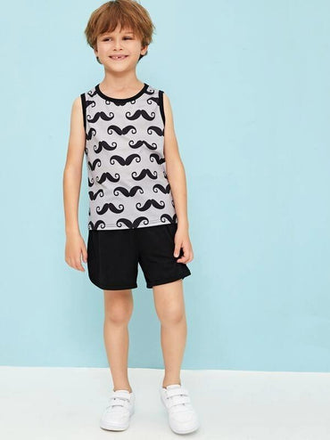 Boys Cartoon Print Tank Top And Shorts Set