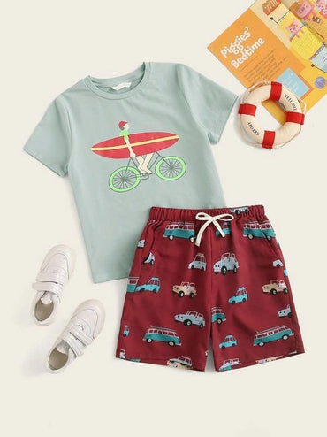 Boys Cartoon Print Top And Drawstring Waist Shorts Set