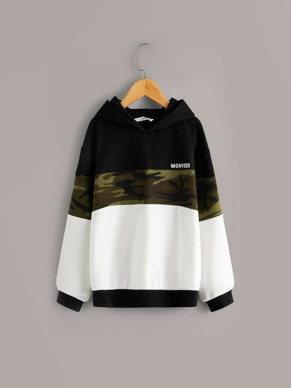 Boys Colorblock Letter Graphic Sweatshirt