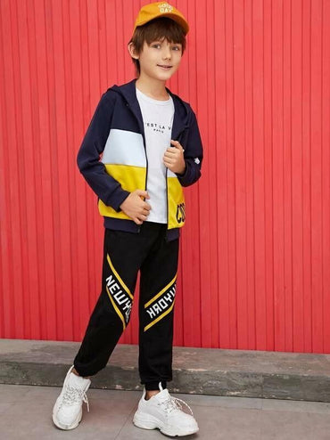 Boys Colorblock Letter Print Hoodie Jacket