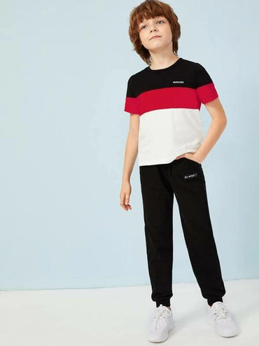 Boys Colorblock Letter Print Top