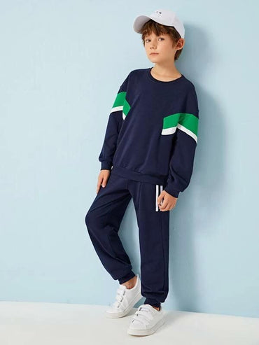 Boys Colorblock Pullover & Sweatpants Set
