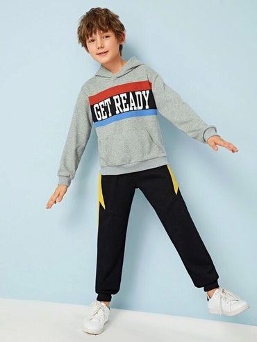 Boys Colorblock Slogan Graphic Pouch Pocket Hoodie