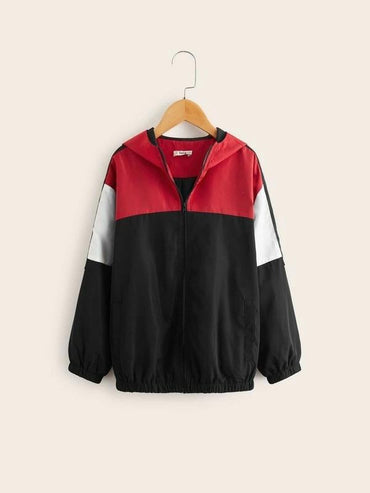 Boys Colorblock Zipper Up Hoodie Wind Jacket