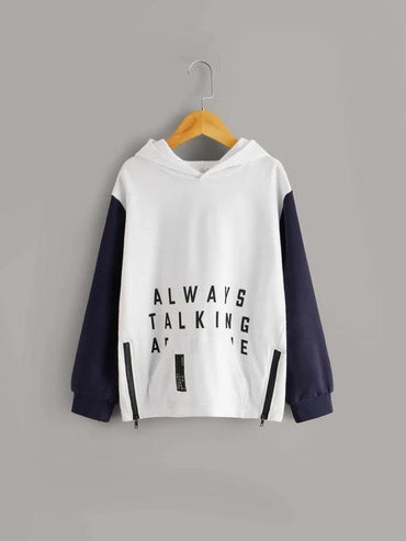 Boys Contrast Sleeve Slogan Graphic Zipper Detail Hoodie