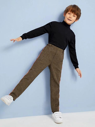 Boys Contrast Striped Tape Pants