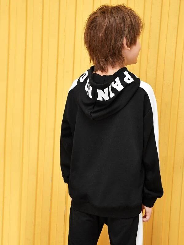 Boys Contrast Tape Slogan Graphic Hoodie