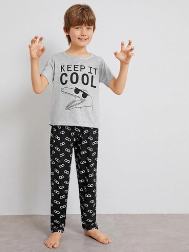 Boys Crocodile & Letter Print Pajama Set