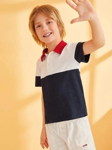 Boys Cut-And-Sew Contrast Collar Polo Shirt