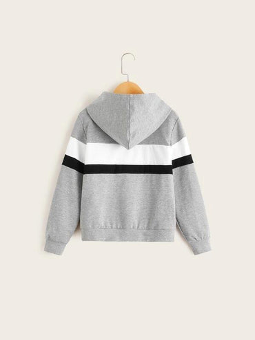 Boys Cut-And-Sew Slogan Print Patch Pocket Hoodie