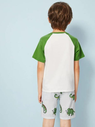 Boys Dinosaur Print Baseball Top & Shorts PJ Set