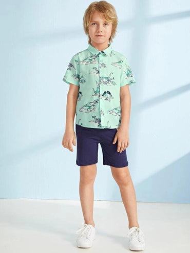 Boys Dinosaurs Print Button Fly Curved Hem Shirt