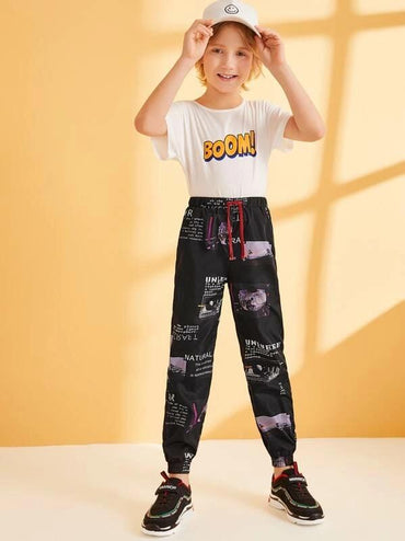 Boys Drawstring Waist Graphic Print Pants