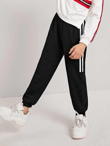 Boys Drawstring Waist Striped Side Sweatpants