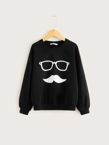 Boys Drop Shoulder Cartoon Graphic Pullover