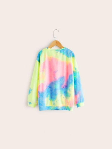 Boys Drop Shoulder Graphic Tie Dye Pullover