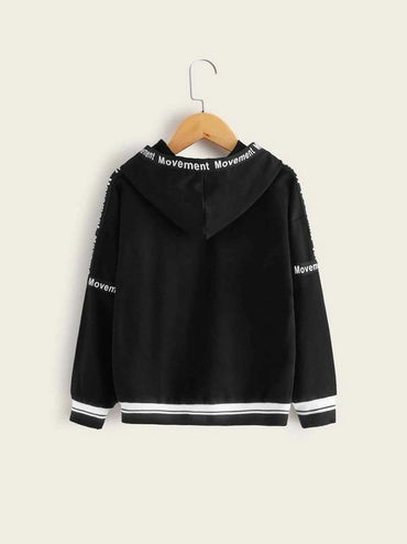 Boys Drop Shoulder Letter Tape Detail Hoodie