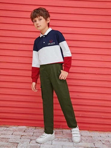 Boys Elastic Waist Flap Pocket Pants
