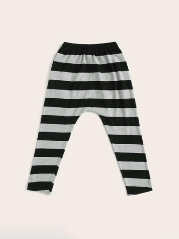 Boys Elastic Waist Patchwork Front Striped Pants