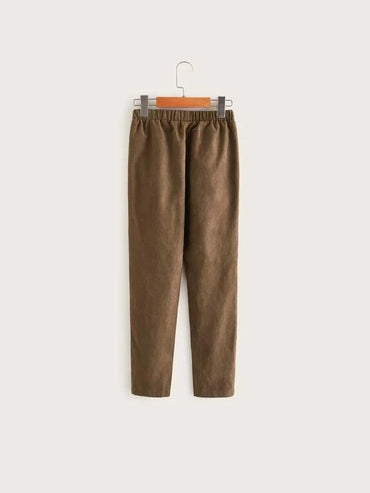 Boys Elastic Waist Solid Pants