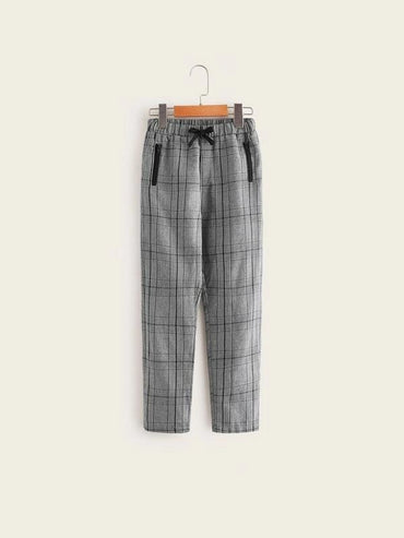 Boys Elastic Waist Zipper Detail Plaid Pants
