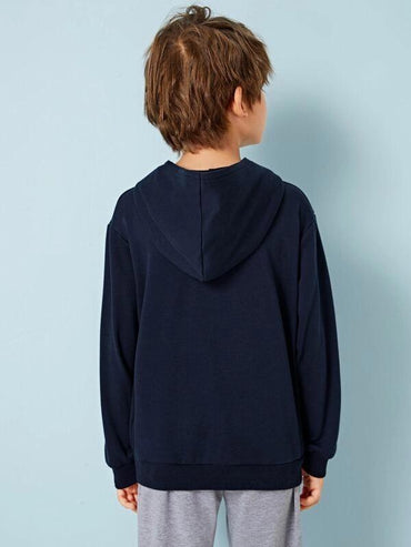 Boys Embroidered Slogan Kangaroo Pocket Hoodie