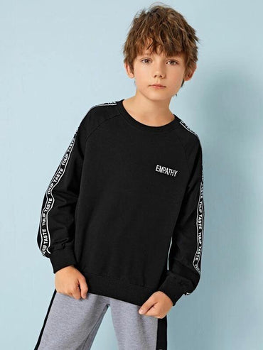 Boys Embroidery Letter Tape Detail Pullover