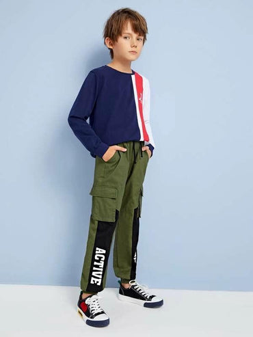 Boys Flap Pocket Side Letter Graphic Cargo Pants