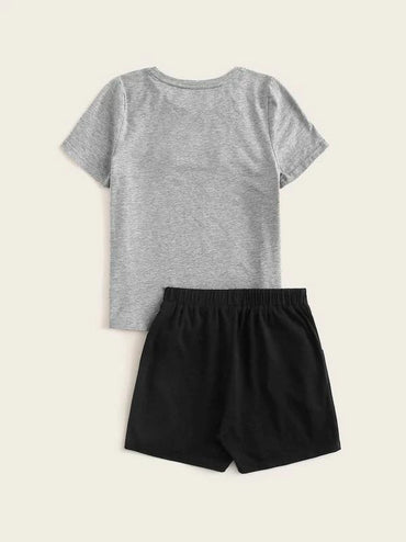 Boys Fleece Patched Graphic Tee & Shorts PJ Set