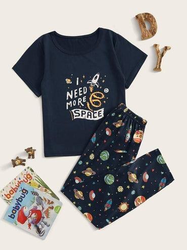 Boys Galaxy Print Pajama Set