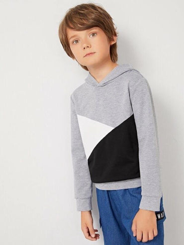 Boys Heather Grey Panel Colorblock Hoodie