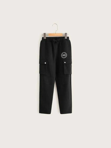 Boys Letter Graphic Flap Pocket Side Cargo Pants