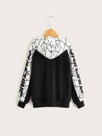 Boys Letter Graphic Geo Panel Hoodie